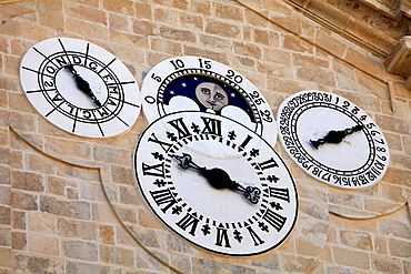 Malta, Valletta, Grand Master's Palace, courtyard, clocks, calendars.