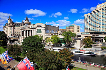 Canada, Ontario, Ottawa, Rideau Canal, Chateau Laurier Hotel, Conference Centre,.