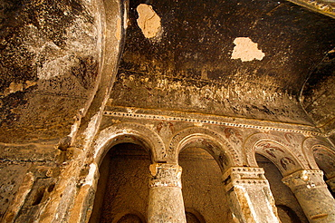 Arcade at the Nave of the Rock-hewn Selime Monastery. Cappadocia, Central Anatolia, Turkey.