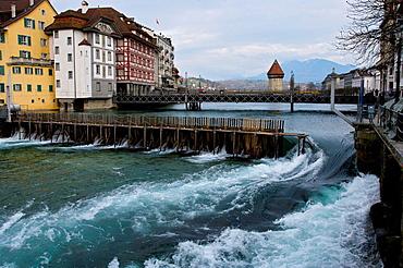 Old quarter, Water tower and lake blocks in Luzern, Switzerland.