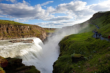 Gullfoss Waterfall located on the Hvita river, South West Iceland, Golden Triangle, Iceland, Polar Regions.
