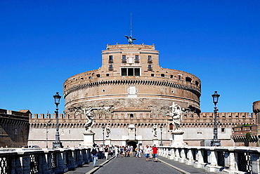 Angel castle with the Angel bridge at the Tiber in Rome