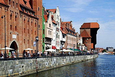 Historic Old Town of Gdansk with the old Harbor on the Motlawa