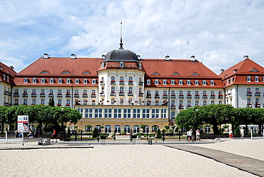 Grand hotel on the beach of the Baltic resort of Sopot in Poland