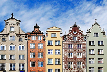 Historic Gabled houses on the Long Market in the Old Town of Gdansk