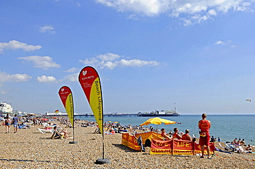 View along the Brighton beach to Pier Brighton East Sussex England.