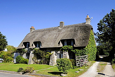 Thatched Cottage in the villlage of Corfe Isle of Purbeck Dorset England.