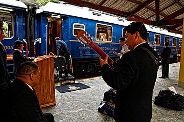 Hiram bingham train to machu picchu in peru.