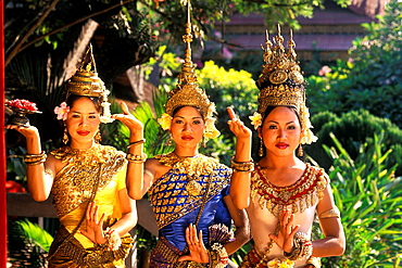 Beautiful Traditional Dancers and Colorful Costumes Khmer Arts Dance Siem Reap Cambodia.
