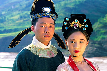 Colorful couple in Tang Dynasty traditional costume in China.