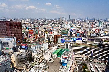 An aerial view of Shinjuku in Tokyo, Japan.