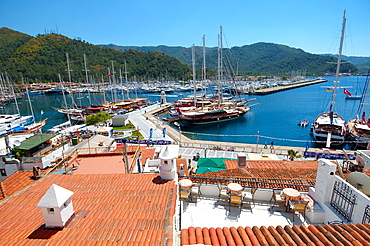 Sailing ships in the harbour, Marmaris, Mugla Province, Turkey