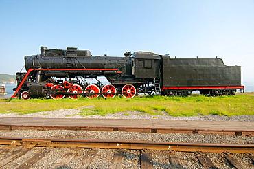 old engine, Circum-Baikal Railway, Lake Baikal, Irkutsk region, settlement Baikal, Siberia, Russian Federation.