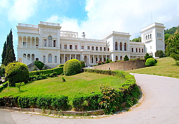 Facade of the Grand Livadia Palace, summer palace of the last Russian Imperial family, The Greater Yalta, Crimea, Ukraine, Eastern Europe.