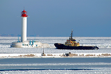 The Odessa seaport is blocked by ice, frozen Black Sea, a rare phenomenon, last time it occured in 1977, Odessa, Ukraine, Eastern Europe.