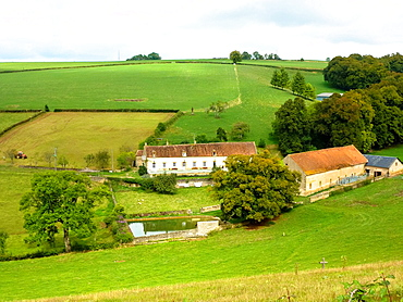 landscape with farm at the Bourgogne in France
