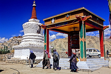 Buddhist pilgrims going to a stupa, Leh, Ladakh, Jammu and Kashmir state, India