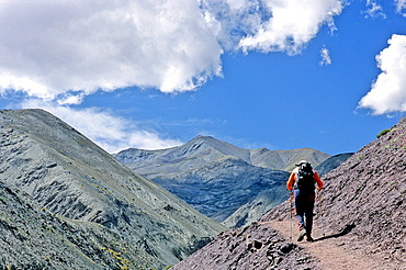 Hiker in the Himalayas, Ladakh, Jammu and Kashmir state, India