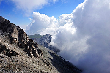 Clouds on Mount Myticas, 2918 m., The highest peak of Mount Olympus, Greece