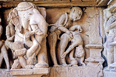 Erotic frieze, Khajuraho Group of Monuments, UNESCO World Heritage Site, Madhya Pradesh, India, Asia.