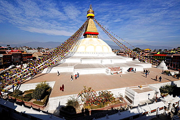 Bodnath stupa in Kathmandu, overall view. Nepal, Kathmandu, Bodnath.