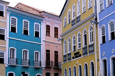 Brazil, Salvador De Bahia, Pelourinho Distict, Local Houses, Portuguese Colonial Architecture.