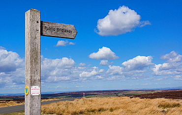 Public Bridleway signpost in Northumberland.