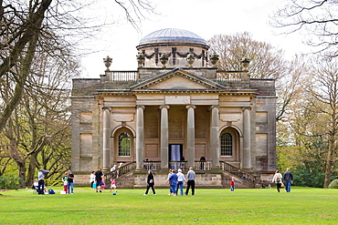 Tourists at the Chapel on the Gibside Hall Estate, National Trust.