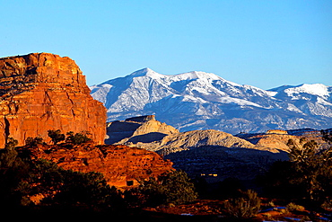 Panorama Point with view of the Henry Mountains at sunset, Capitol Reef National Park, Utah, United States of America.