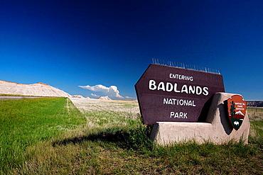 National Park Service welcome sign for Badlands National Park, South Dakota, United States of America.