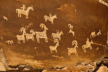 Rock panel with Ute Petroglyph drawings, Arches National Park, Utah, United States of America.