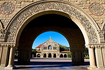 Memorial Church, viewed through an arch on the main quad, Stanford University, Stanford, California, United States of America.