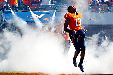 Oct 15, 2011; Charlottesville VA, USA; Virginia Cavaliers cornerback Chase Minnifield (13) enters the field before the game against the Georgia Tech Yellow Jackets at Scott Stadium.