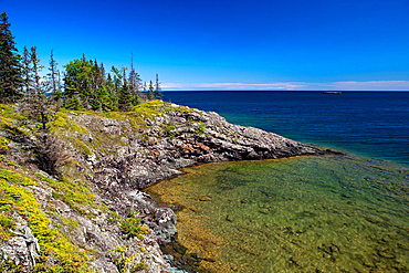 View of Rock Harbor and Lake Superior from the Stoll Memorial Trail, Isle Royale National Park, Michigan, United States of America.