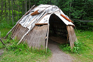 Wigwam shelter with birch bark paneling, Grand Portage National Monument, Grand Portage, Minnesota, United States of America.