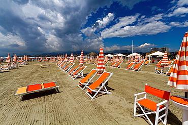 Beach Scenery in Viareggio in Tuscany, Italy.