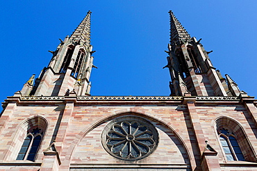 The Towers of the Church Saints Pierre et Paul in Obernai in the Alsace, France.