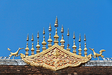 Detail of a Roof in the Temple Wat Hosian Voravihane in Luang Prabang, Laos