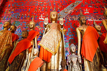 Statues in the Temple Vat Xieng Thong in Luang Prabang, Laos