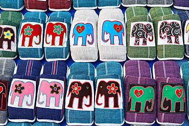 Sale of colorful Child Shoes on a Street Market in Luang Prabang, Laos