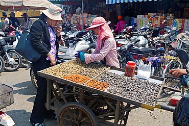 Scenery on a Market in Phnom Penh, Cambodia.