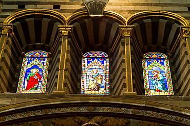 Windows in the Cathedral di Santa Maria Assunta in Siena, Italy.