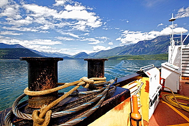 Bollards on ferry over lake in the Rocky Mountains, Canada.
