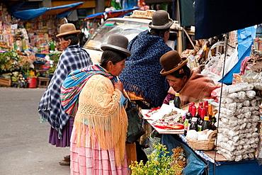 Vendors at street market, La Paz, Bolivia, South America.