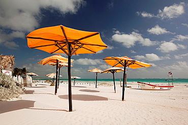Parasols at the beach, Tulum, Quintana Roo, Yucatan Province, Mexico.