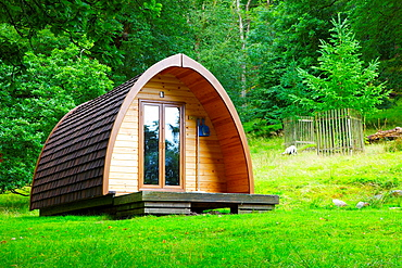 Camping Pod in a woodland clearing at Rydal Hall Ambleside Cumbria England United Kingdom Great Britain.