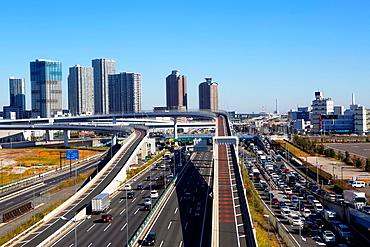 Japan, Tokyo City ,Shuto xpressway, Bay coast route.