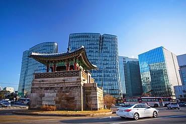 Korea, Seoul City, The Southeast Watch Tower of Gyeongbokgung Palace.