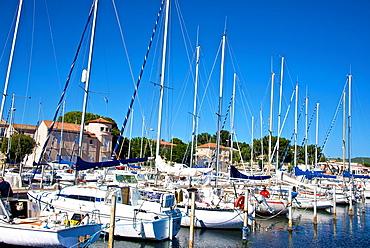 Marina and sail boats, Bouzigues, Thau basin, 34, Herault, France.