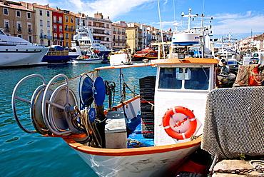 Fishing boat,and Fishing nets,Sete, Thau basin, 34, Herault, France.